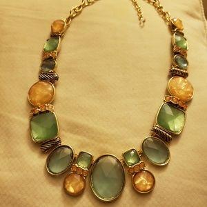 Graduated Geometric Stone multi-color Necklace